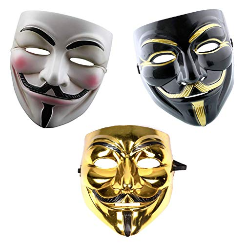 GrassVillage Anonymous Halloween V for Vendetta 3 pc Mask Set – Gold, White and Black – PARTY, WORLD BOOK WEEK / HALLOWEEN KIT