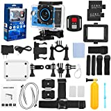 FINEC F60R Waterproof Sports Action Camera 4K 16 MP Ultra HD WIFI 170 Degree Angle Underwater Camcorder With 2.0Inch LCD Screen And Full Accessories Kits (Blue)