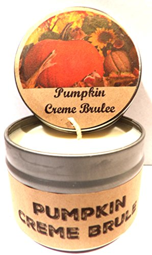 Pumpkin Crème Brulee 4oz All Natural Novelty Tin Soy Candle, Take It Any Where Approximate Burn Time 30 Hours (Soy Creme Candle Brule)
