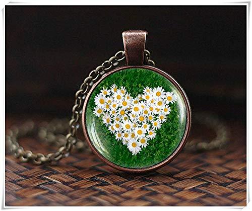 Daisy Heart Pendant - Showking Daisy Heart Pendant, Daisy Flower Necklace, Nature Jewelry, Botanical Necklace, Daisy Photo Glass Dome Pendant