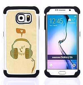 - headphones music love orange teal/ H??brido 3in1 Deluxe Impreso duro Soft Alto Impacto caja de la armadura Defender - SHIMIN CAO - For Samsung Galaxy S6 G9200