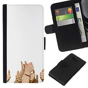 """JackGot ( Divertido - pulgares para arriba"""" ) Samsung ALPHA G850 la tarjeta de Crédito Slots PU Funda de cuero Monedero caso cubierta de piel"""