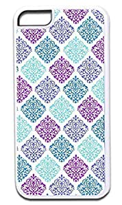 Colorful Damasks-Case for the APPLE IPHONE 5c ONLY!!!-Hard White Plastic Outer Case