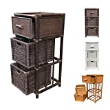 Rattan Nightstand Chest Basket Storage Unit model Dennis with Drawer (Dark Brown)