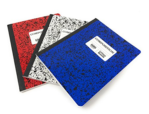 Norcom 100 Sheet Marble Composition Notebooks, College Ruled, Patriotic Colors, Pack of 3 (Red, White and Blue)