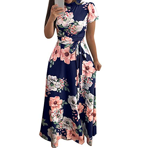 Women's O-Neck Floral Printed Dress Fashion Short Sleeve Bandage Long Dress Navy