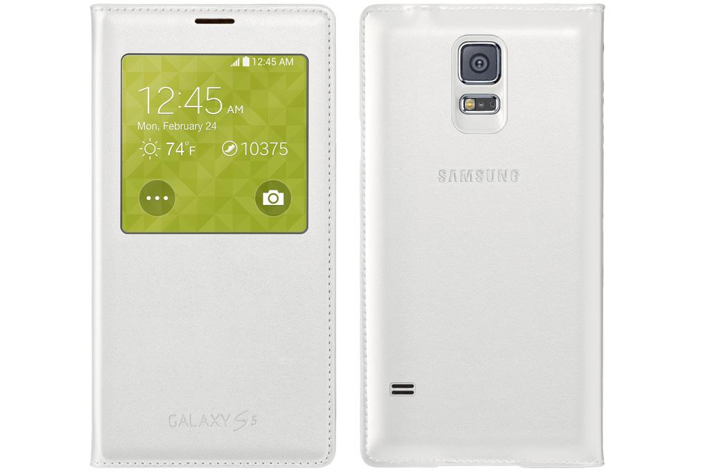 free shipping 7bac5 ca235 Samsung Galaxy S5 Case S View Flip Cover Folio, White