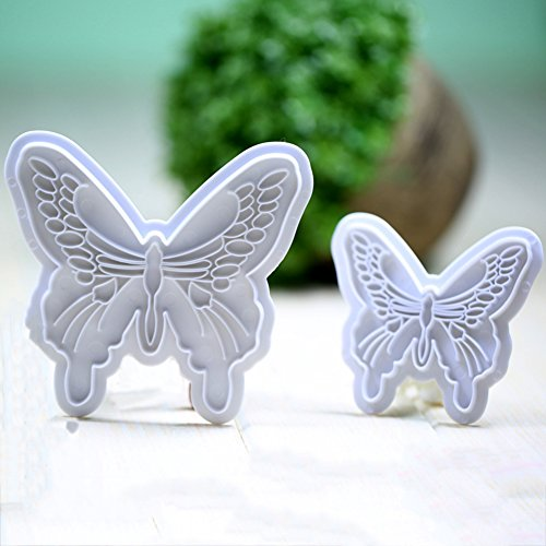 KALAIEN 2pcs Butterfly Sugarcraft Cookie Plunger Cutters DIY Embossing Cutter for Cupcake Decorating (Butterfly Cookie Cakes)