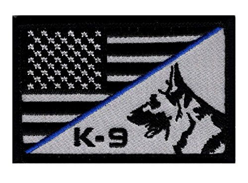 K-9 USA American Flag Thin Blue Line Police Swat Tactical Morale Hook Patch (PK1)