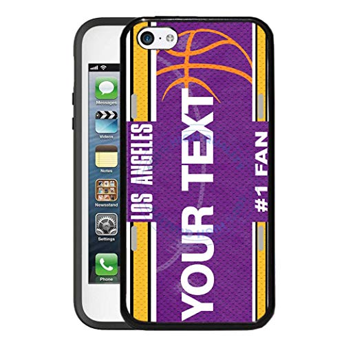 BRGiftShop Personalize Your Own Basketball Team Los Angeles Purple and Gold Rubber Phone Case For Apple iPod Touch 5th & 6th Generation