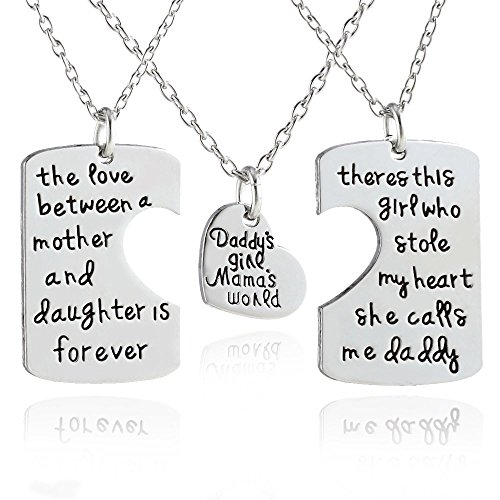 ThyWay Daddy's Girl Mommy's World / Daddy Girl Mommy World Set Little Girl Kids Love Fathers Day Mothers Day Stole Heart 3 Piece Pendant Necklace Set Gift for Daughter, Mommys Little Girl, Mums Girls