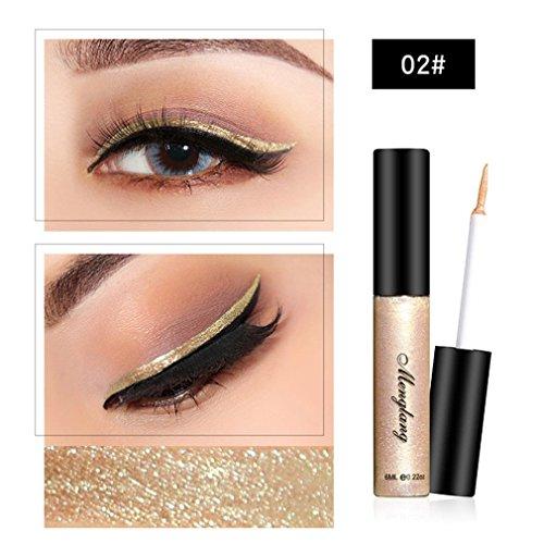 (Glitter Liquid Eyeliner for Women, Iuhan Chameleon Metallic Shiny Smoky Eyes Eyeshadow Waterproof Glitter Liquid Eyeliner (B))