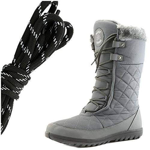 DailyShoes Womens Comfort Round Toe Mid Calf Flat Ankle High Eskimo Winter Fur Snow Boots, Black White Gray