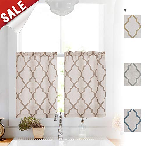 Short Curtains for Bathroom, Moroccan Print Linen Textured Look Half Window Covering for Kitchen Window Treatments (1 Pair 26