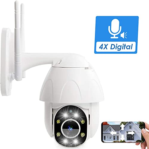 PTZ Camera Outdoor, Fyuui 1080P Wireless Security Camera, 2.0MP WiFi IP Camera, Wireless Pan Tilt Zoom 4xDigital IP Camera,2 Way Audio, Color Night Vision, Motion Tracking, Light Alarms