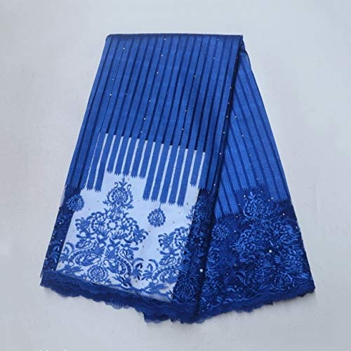 Lace - Alisa Royal Blue Stripe French Embroidered Tulle Lace Fabric African Lace Fabric Lace Fabric with Stones Beads - (Color: 3)