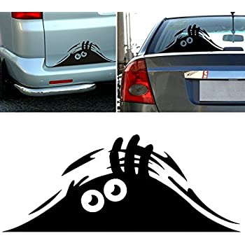 Peeking monster funny scary eyes decal sticker for car walls windows graphic vinyl car 11 inches black