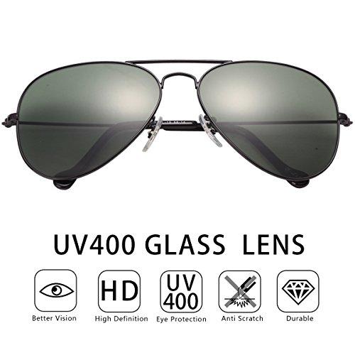 O-Let Black Aviator Sunglasses Girls Boys with UV400 Glass Lens Green Color Non - Sunglasses Graduation Kid 2017