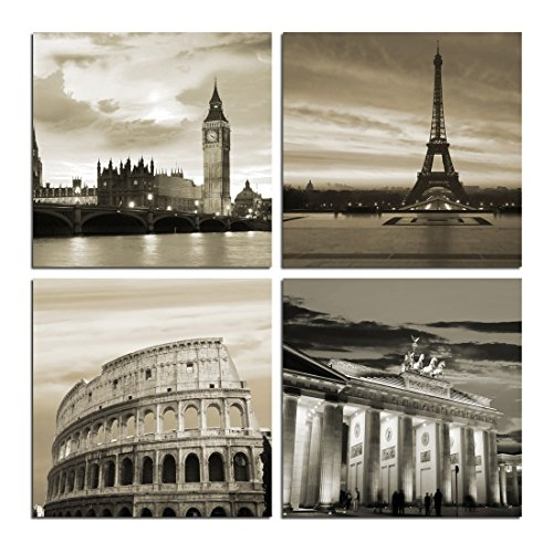 Goupsky Art  Large Modern City Landscape Berlin London Paris Rome 4 Panels Canvas Prints Giclee Artwork On Canvas Wall Art For Home And Office Decoration Ready To Hang 16X16inchx4pcs