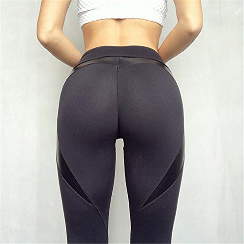 Lokouo 2018 Leggings Reflective Love Yoga Breathable Slim Pants,Black,M by LOKOUO Pants (Image #2)