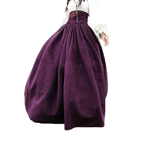 hibote Mujer Cintura Alta Falda Retro Plisado Falda Medieval ...