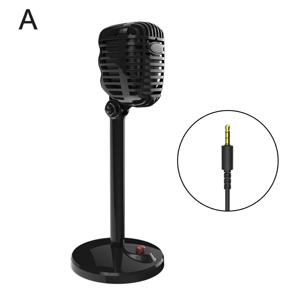 iB/âstte Retro Microphone C/âble Ordinateur pour Ordinateur Portable PC Bureau Ordinateur De Bureau