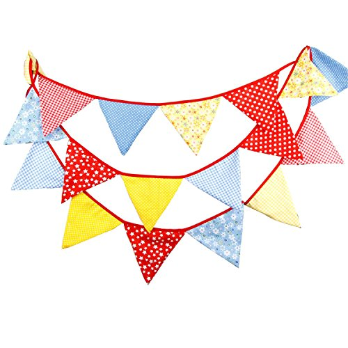 Red Plaid Gingham Colorful Floral Fabric Party Bunting Wedding Banner Garland Baby Shower Birthday Home Decorative Hanging Ornament ()