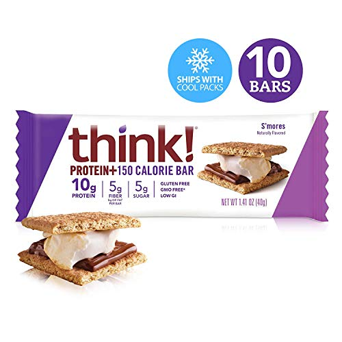 Think! (thinkThin) Protein+ 150 Calorie Bars - S'Mores, 10g Protein, 5g Sugar, No Artificial Sweeteners, Gluten Free, GMO Free*, 1.4 oz bar (10 Count - Packaging May Vary)