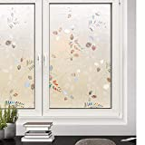 Rabbitgoo Privacy Window Film Frosted Film No Glue Anti-UV Window Sticker White Frosted Window Cling Non-Adhesive (35.4In. by 78.7In, Frosted Leaf)
