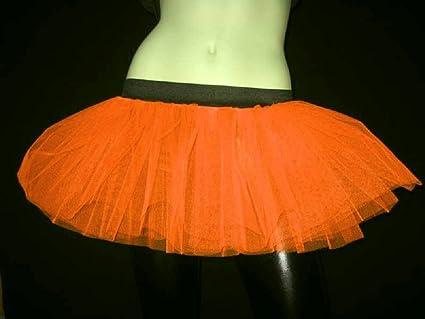 6ce1fbd1e Amazon.com : Orange Plus Size Neon Uv Color Tutu Tulle Skirt Fancy Dress  Cyber Rave Clubwear Halloween Free Ship : Everything Else