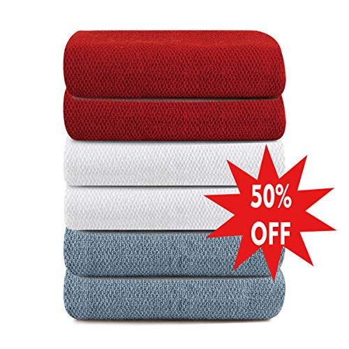 VERTEXWAN Towels Kitchen Towels (6 Pack, 12 x 25 Inch) 100% Natural Cotton - Machine Washable - Super Absorbent - Extra Soft Dobby Weave Dish Towels, Hand Towels, Bar Towels, Clean Towels