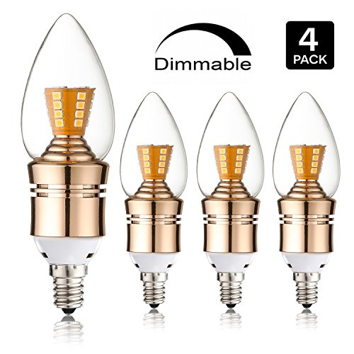 Leools E12 led Dimmable candelabra light bulb 75Watt Equivalent Light Bulb,9W LED Candle bulb,2700K Warm White, 800LM, Decorative Candle led bulb.(Torpedo Shape 4 Pack) - 9w Candelabra