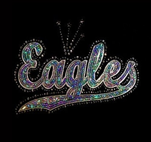 Rhinestone Iron Ons (Eagles - Silver - Sequin and Rhinestone Iron on Transfer)