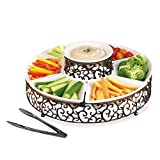 Elegant 7 Section Chips and Dip Serving Platter, Ceramic and Pressed Metal Party Centerpiece for Appetizers, Salad Bar, Divided Serving Dish with Serving Tong