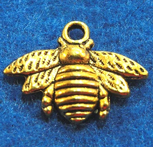 Charms Bee Baby (10Pcs. Tibetan Antique Gold Honey BEE Charms Pendants Earring Drops IN25 Jewelry Making Supply Pendant Bracelet DIY Crafting by Wholesale Charms)