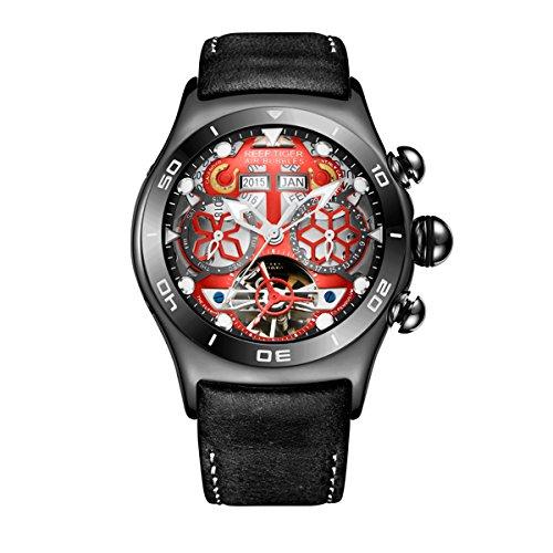 Reef Tiger Luminous Sport Watches Mens Black Steel Skeleton Dial Tourbillon Watch RGA703