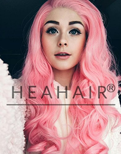 [Heahair Fashion Pink Wave Synthetic Lace Front Wig for Cosplay] (Homemade Hippie Costumes Ideas For Women)