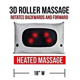 Wireless Heated Shiatsu Massage Lumbar Back Cushion - Rechargeable, Plush Leather Home Deep-Massage Pillow - Comes In a Attractive Carry On Travel Gift Box