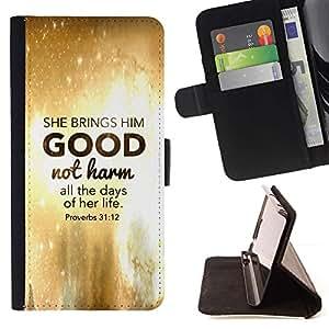 Momo Phone Case / Flip Funda de Cuero Case Cover - BIBLIA Ella trae lo bueno No Harm - Proverbios 31:12; - Samsung Galaxy S4 Mini i9190