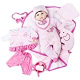 """MeiMei Realistic Reborn Baby Doll Soft Vinyl 20"""" Lifelike Looks Real Toy Clothing and Accessories Feeding Set Bib & Bottle Birthday Gift Box for Girls Age 3+"""