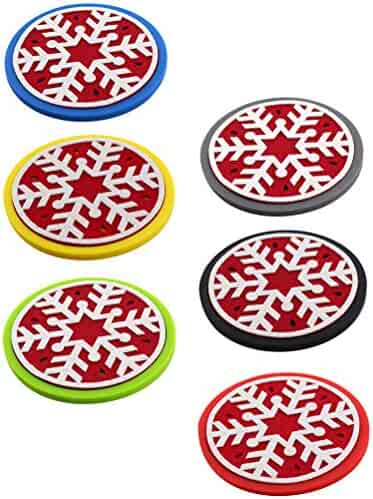 Christmas Silicone Coaster Round Felt Cup Mat Christmas Tree Durable Drinks for Home Kitchen Decor Wedding Beer 6PCS