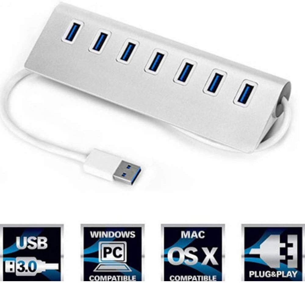 LMDH Powered USB Hub Aluminum 7 Port USB 3.0 Data Hub with 5V//2A Power Adapter
