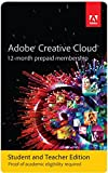 Software : Adobe Creative Cloud Student and Teacher Edition Prepaid Membership 12 Month (Download) - Validation Required