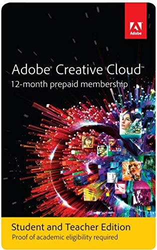 Adobe Creative Cloud Student and Teacher Edition Prepaid Membership 12 Month (Download) - Validation (Multimedia Software)