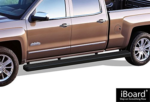 APS iBoard (Black Powder Coated 6 inches Wheet to Wheel) Running Boards | Nerf Bars for 2007-2018 Chevy Silverado/GMC Sierra Crew Cab 6.5ft Bed & 2019 2500 HD / 3500 HD (Excl. 07 Classic Models)