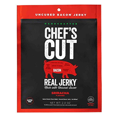 Cut Bacon Thick (Chef's Cut Tender Real Bacon Jerky, Sriracha Style, 2 Ounce)