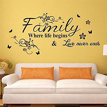 Buy Retro Love Family Quotes Wall Stickers Decorations Online at Low ...