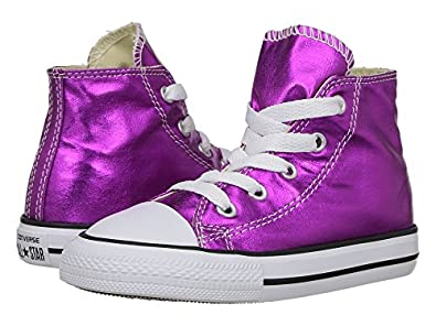 c9667eda1f Image Unavailable. Image not available for. Color  Converse Kids Chuck  Taylor All Star Hi Metallic Infant Toddler Magenta Glow Black