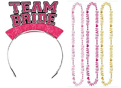 Team Bride Headbands & Beaded Necklaces (12 Pcs) by DG Shopping Spree