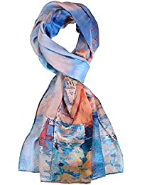 Women Luxurious 100% Charmeuse Silk Scarf Colorful Printed Scarves
